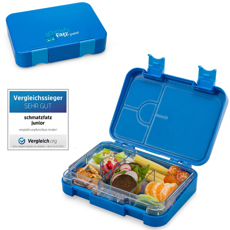 schmatzfatz junior Kinder Lunchbox, Bento Box mit variablen Fächern, Blau
