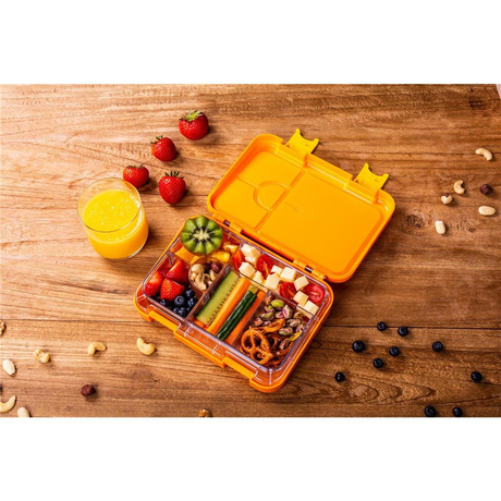 schmatzfatz junior Kinder Lunchbox, Bento Box mit variablen Fächern, Orange
